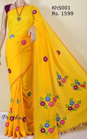 Khadi cotton silk applique saree