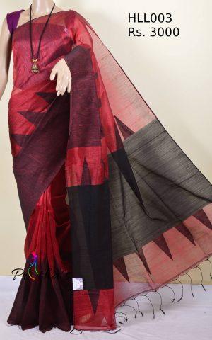 linen by silk saree