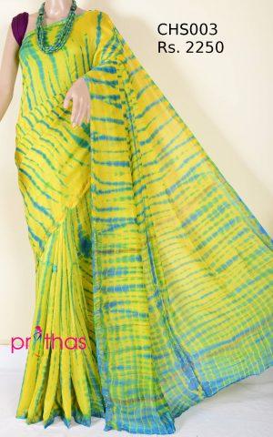 shibori printed chanderi silk cotton silk saree