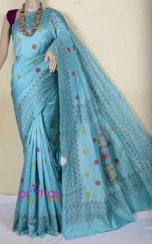 semi tussar kantha stitch saree