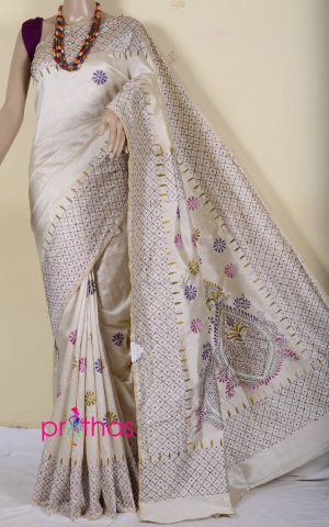 semi tussar kantha stitch saree