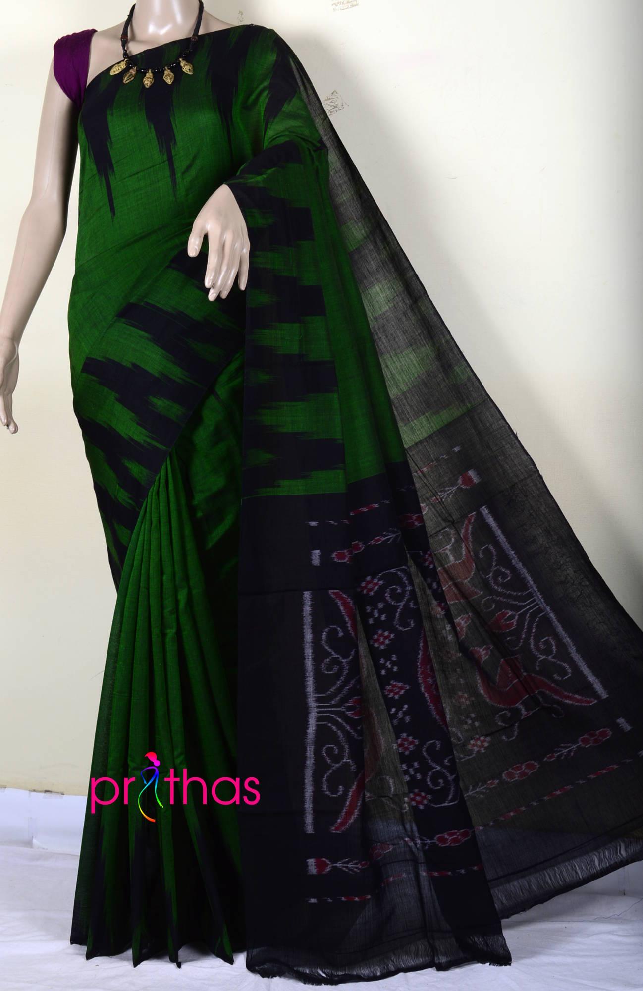 044dae06f707ef Green-Black Pure Handloom Cotton Ikat Saree – Prithas