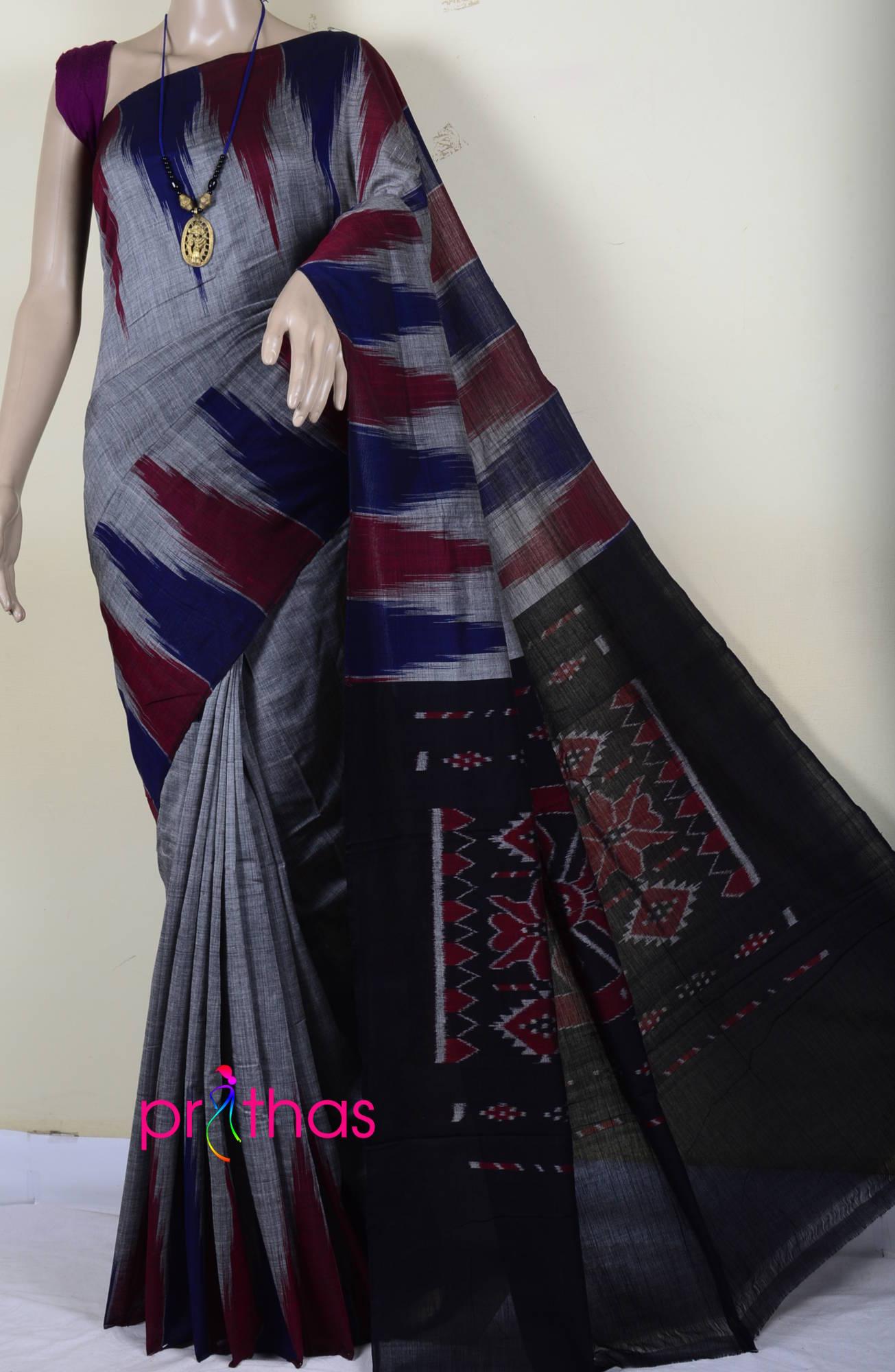 94796904224810 Steel grey-Black Pure Handloom Cotton Ikat Saree – Prithas