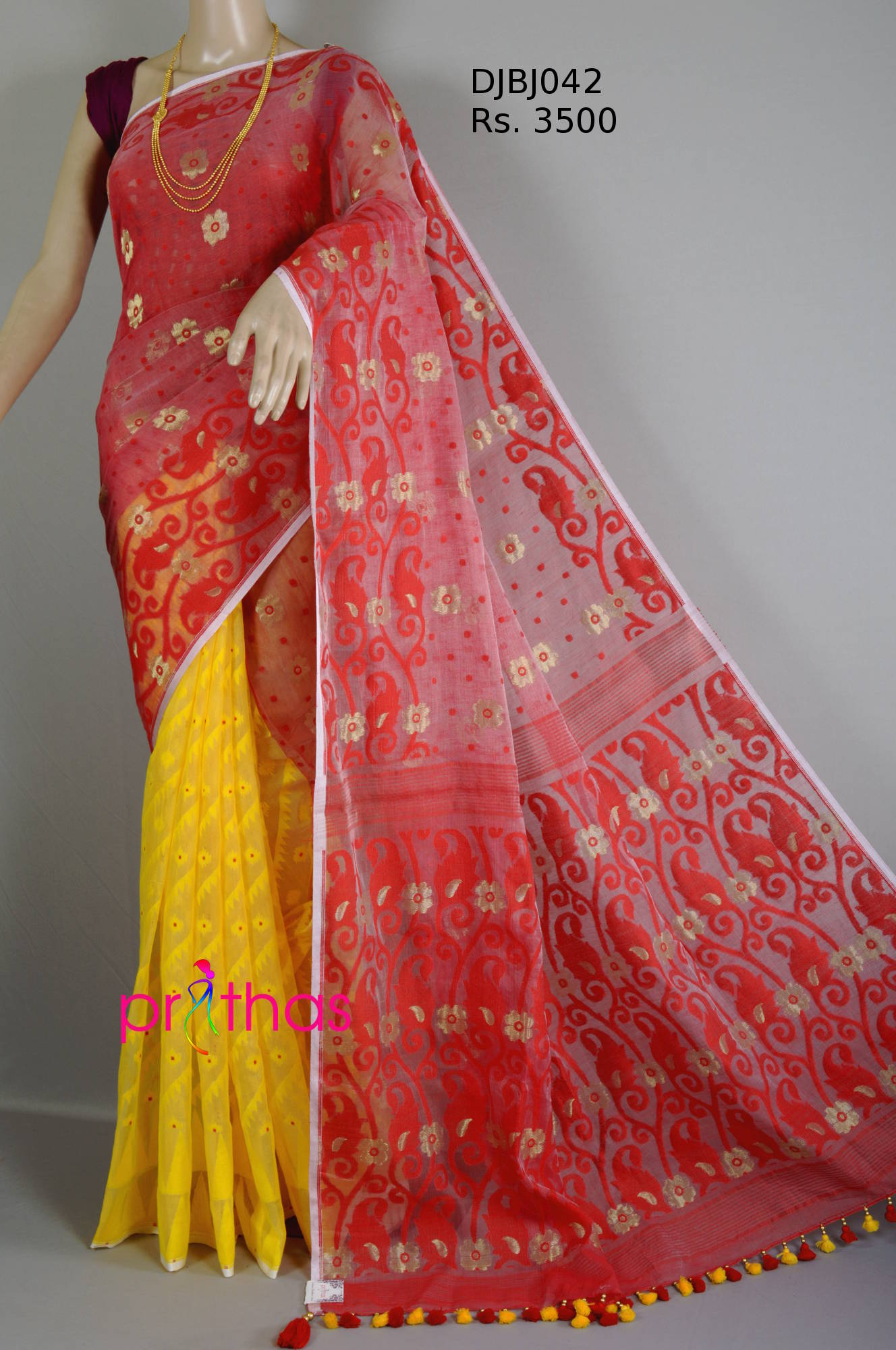 1c6762298bf3e Red-Yellow half-half pattern Soft dhakai jamdani saree – Prithas